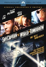 DVD-Cover: Sky Captain and the World of Tomorrow, mit Jude Law, Gwyneth Paltrow, Angelina Jolie, Giovanni Ribisi, Michael Gambon, Bai Ling, Omid Djalili, ...